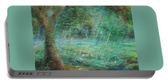 Portable Battery Charger featuring the painting Rain On The Pond by Mary Wolf