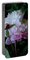 Rain-soaked Peonies Portable Battery Charger by Rona Black
