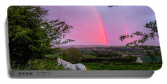 Rainbow At Sunset In County Clare Portable Battery Charger