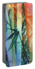 Portable Battery Charger featuring the painting Rainbow Bamboo 2 by Marionette Taboniar