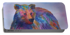 Portable Battery Charger featuring the painting Rainbow Bear by Ellen Levinson