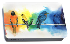 Rainbow Birds Portable Battery Charger by Antony Galbraith