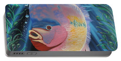 Portable Battery Charger featuring the painting Rainbow Devil Fish by Dianna Lewis
