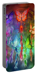 Portable Battery Charger featuring the mixed media Rainbow Dreams by Carol Cavalaris