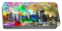Rainbow Nyc Skyline Portable Battery Charger by Daniel Janda