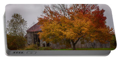 Rainbow Of Color In Front Of Nh Barn Portable Battery Charger by Jeff Folger