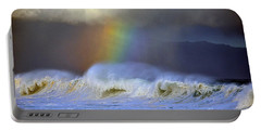 Rainbow On The Banzai Pipeline At The North Shore Of Oahu Portable Battery Charger