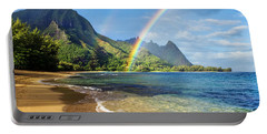 Rainbow Over Haena Beach Portable Battery Charger