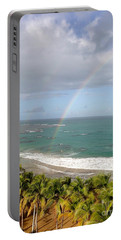 Rainbow Over Palms Portable Battery Charger by The Art of Alice Terrill
