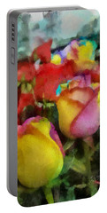 Rainbow Roses Watercolor Digital Painting Portable Battery Charger by Eti Reid