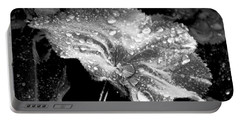 Raindrop Covered Leaf Portable Battery Charger