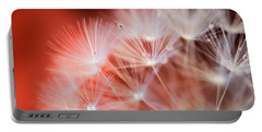 Raindrops On Dandelion Red Portable Battery Charger