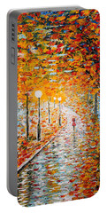 Portable Battery Charger featuring the painting Rainy Autumn Day Palette Knife Original by Georgeta  Blanaru
