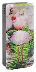 Rainy Day Flamingos 2 Portable Battery Charger