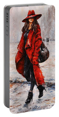 Rainy Day - Red And Black #2 Portable Battery Charger