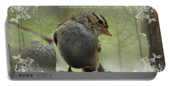 Rainy Day Sparrow With Verse Portable Battery Charger by Debbie Portwood