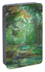 Portable Battery Charger featuring the painting Rainy Woods by Mary Wolf