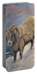 Portable Battery Charger featuring the painting Ram In The Snow by Donna Tucker