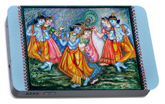 Portable Battery Charger featuring the painting Ras Leela by Harsh Malik