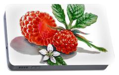 Raspberries  Portable Battery Charger by Irina Sztukowski