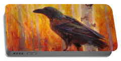 Raven Glow Autumn Forest Of Golden Leaves Portable Battery Charger by Karen Whitworth