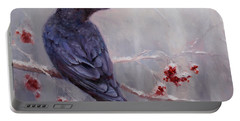 Raven In The Stillness - Black Bird Or Crow Resting In Winter Forest Portable Battery Charger