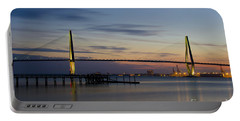 Portable Battery Charger featuring the photograph Ravenel Bridge Nightfall by Dale Powell