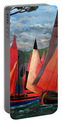 Portable Battery Charger featuring the painting Ravenna Regatta by Tracey Harrington-Simpson