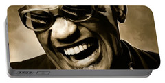 Ray Charles - Portrait Portable Battery Charger by Paul Tagliamonte