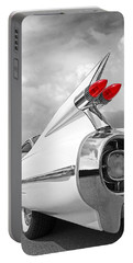 Reach For The Skies - 1959 Cadillac Tail Fins Black And White Portable Battery Charger