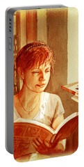 Portable Battery Charger featuring the painting Reading A Book Vintage Style by Irina Sztukowski