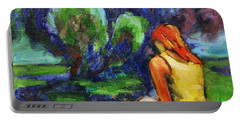 Portable Battery Charger featuring the painting Reading In A Park by Xueling Zou