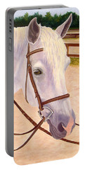Portable Battery Charger featuring the painting Ready To Ride by Karen Zuk Rosenblatt