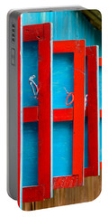 Red And Blue Wooden Shutters Portable Battery Charger