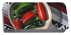Red And Green Peppers Portable Battery Charger by Laura Forde
