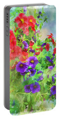 Red And Purple Calibrachoa - Digital Paint I Portable Battery Charger by Debbie Portwood