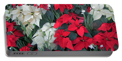 Red And White Poinsettias Portable Battery Charger