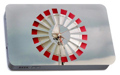 Portable Battery Charger featuring the photograph Red And White Windmill by Cynthia Guinn