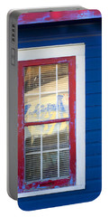 Red And White Window In Blue Wall Portable Battery Charger