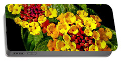 Red And Yellow Lantana Flowers With Green Leaves Portable Battery Charger