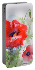 Red Anemones Portable Battery Charger by Marna Edwards Flavell
