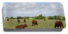 Portable Battery Charger featuring the photograph Red Angus Cattle by Charles Beeler