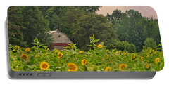 Red Barn Among The Sunflowers Portable Battery Charger
