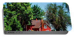 Portable Battery Charger featuring the photograph Red Barn And Trees by Matt Harang