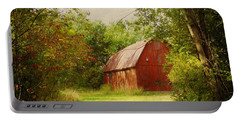 Red Barn In The Woods Portable Battery Charger