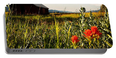 Portable Battery Charger featuring the photograph Red Barn by Meghan at FireBonnet Art