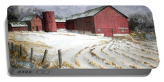 Red Barn On Rt. 49 Portable Battery Charger by Roger Rockefeller