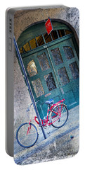 Portable Battery Charger featuring the digital art Red Bike by Erika Weber