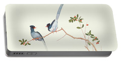 Red Billed Blue Magpies On A Branch With Red Berries Portable Battery Charger by Chinese School