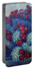 Portable Battery Charger featuring the painting Red Cactus by Rob Corsetti